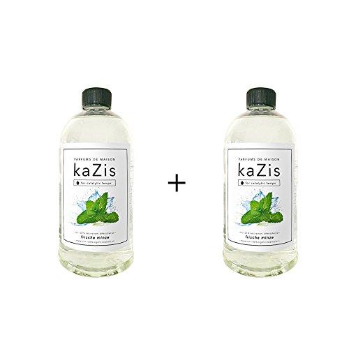 KAZIS Duft-Set Minze I Passend für alle katalytischen Lampen I 2 x1 Liter I Nachfüll-Öl I 2 x 1000 ml I 2 x 1 Liter