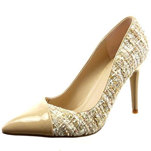 Sopily - Scarpe da Moda scarpe decollete stiletto bi-materiale alla caviglia donna lucide verniciato Tacco Stiletto tacco alto 9 CM - Beige FRF-8-07-10 T 38