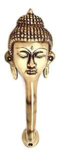 Two Moustaches Buddha Face Brass Door Handle (Standard Size, Antique Brown)