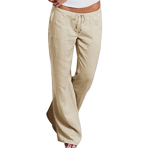 LITTHING New Fashion Women Casual Style Cotton Linen Pants Elastic Waist Solid Color Office OL Pants Slim Pants Plus Size Trousers (Rise Cropped Womens Pant Low)