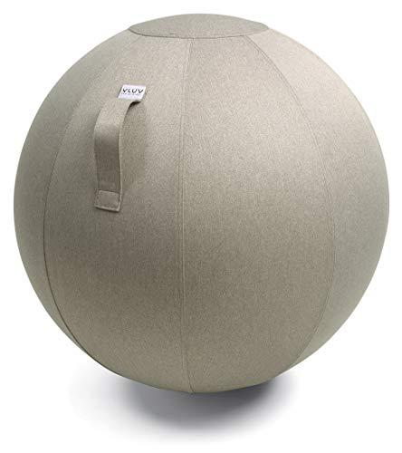 VLUV LEIV Stoff-Sitzball, ergonomisches Sitzmöbel für Büro und Zuhause, Farbe: Stone (beige), Ø 60cm - 65cm, Möbelbezugsstoff, robust und formstabil, mit Tragegriff