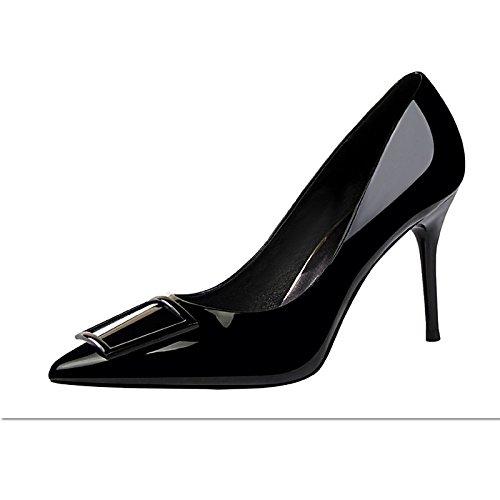 Dimaol Zapatos De Mujer En Cuero Sintético Spring Fall Comfort Tacones Stiletto Heel Acentuado Para Vestir Caqui Verde Rojo Negro Amarillo Negro