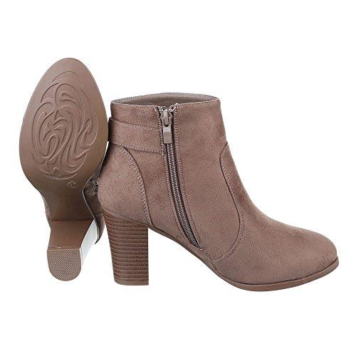 Ital-Design Klassische Stiefeletten Damen Schuhe Schlupfstiefel Pump Leicht Gefütterte Reißverschluss Stiefeletten Braun Grau