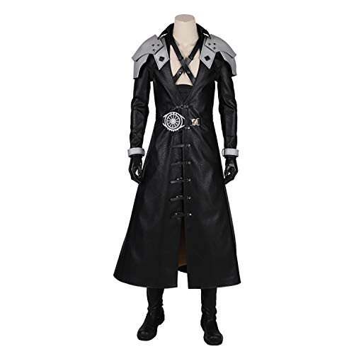 Leder Fantasie Kostüm - QWEASZER Anime Spiel Final Fantasy Sephiroth Kostüm Männer Schwarz Leder Lange Jacke Full Set Schlacht Kostüm Halloween Film Cosplay Kostümfest Requisiten,Final Fantasy-L