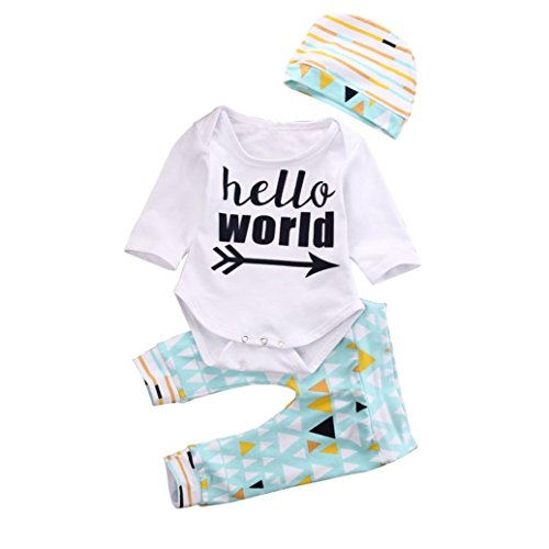 Saingace Jugendliche Baby-Mädchen-Jungen-Kleidung Letters Romper + Geometry Pant Outfit Set Kinderkleidung Kleidung Outfits Bekleidungssets (18M)