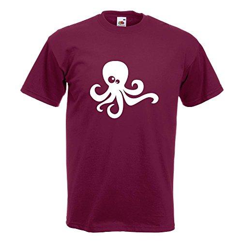 KIWISTAR - Oktopus Comic T-Shirt in 15 verschiedenen Farben - Herren Funshirt bedruckt Design Sprüche Spruch Motive Oberteil Baumwolle Print Größe S M L XL XXL Burgund