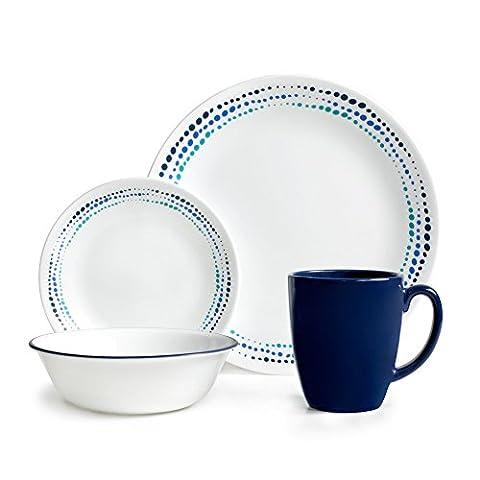 Corelle Vitrelle Glass Ocean Chip and Break Resistant Dinner Set,