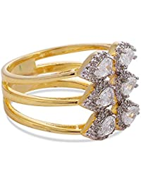 Tistabene Retails Floral Designer American Diamonds Pear Stones Designer Two Tone Plated Stylish Party Wear Finger...