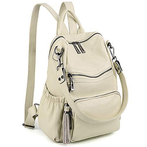 UTO Damen Rucksack Geldbörse PU Washed Leder Cabrio Damen Rucksack Quaste Reißverschluss Tasche Schultertasche Creme -