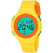 Reloj deportivo digital impermeable para niños, con cronómetro y alarma, reloj de pulsera analógico