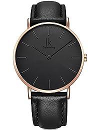 Alienwork IK Quarz Armbanduhr elegant Quarzuhr Uhr modisch Zeitloses Design klassisch Leder schwarz 98469L-09