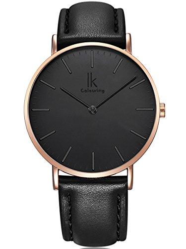 Alienwork IK Quarz Armbanduhr elegant Quarzuhr Uhr modisch Zeitloses Design klassisch Leder schwarz 98469G-09