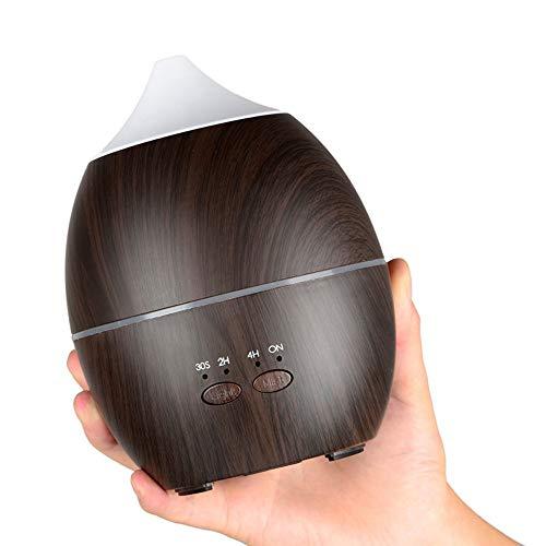 300Ml Aromatherapie Maschine Holz Korn Befeuchter Bunte Nachtlicht Ultraschall-Zerstäuber Weihnachtsdekoration,Brown