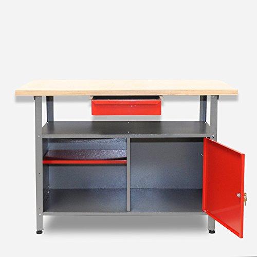 Werkbank aus Metall mit 30 mm Sperrholzplatte mit einer verschließbaren Tür, einer Schublade sowie einer Zwischenablage, Maße B 120 x H 85 X T 60 cm - 2