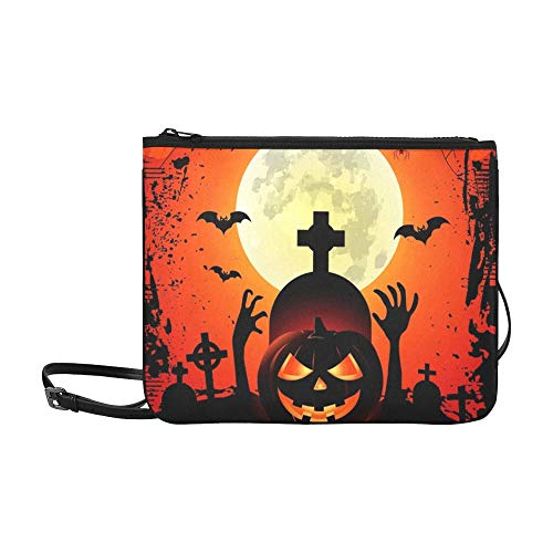 WYYWCY Halloween Party Kürbisse Fledermäuse Spinne Auf Benutzerdefinierte hochwertige Nylon Slim Clutch Cross Body Bag ()