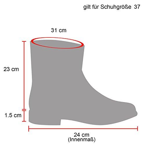 Stiefelparadies Bequeme Damen Stiefel Schlupfstiefel Lochungen Flache Boots Leder-Optik Metallic...