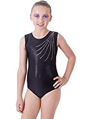 Deluxe 'Revel' Jet Black with cascading encrusted Diamante Gymnastic Sleeveless Leotard (9-11 Años)