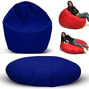 Sitzsack 2 in 1 Funktion mit Füllung Bag Sitzkissen Bodenkissen Kissen Sessel Sofa (100cm Durchmesser, Blau)