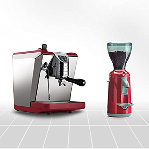 Espresso Maker Oscar II Red and Coffee Grinder Grinta, Special Offer Combo Set Made in Italy