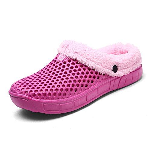 WAWEN Damen Herren Winter Garten Clogs Leichte Pantoffel Walking Sandalen Strand Pool rutschfeste Schuhe für Indoor Outdoor Rosa 38