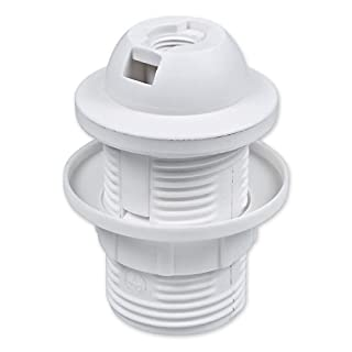 E14 Lampenfassung Kunststoff (PBT), Gewindefassung mit festem Lampenschirmkragen und Einbauring Weiß (RAL 9003)