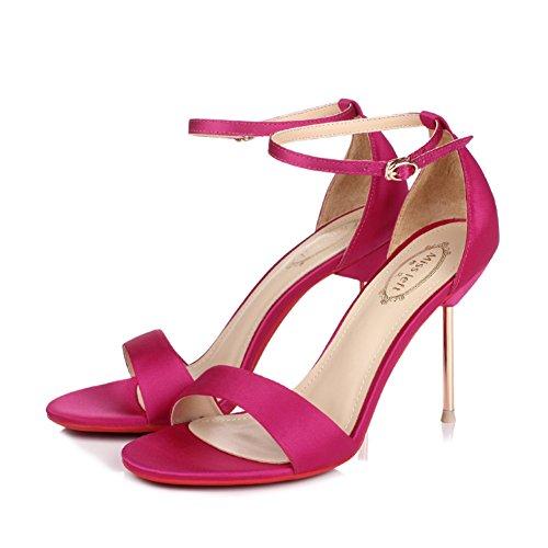 Seide römische high heels/Metall fein mit dem wort wölbung offenen sand sandalen F