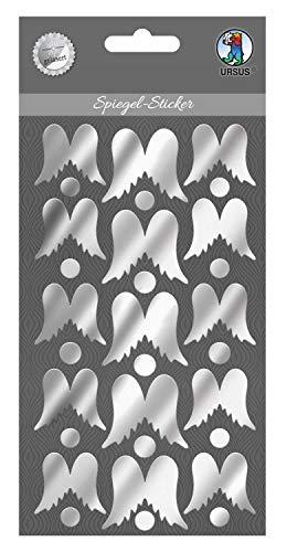 Ursus Las alas de ángel 75080007, 15 Pegatinas Autoadhesivas de acrílico para Espejo, 2 tamaños Diferentes Aprox. 2,9-3,5 cm, Plateado.