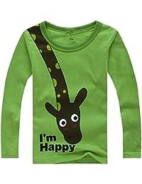8407465b23 Blaward Kleinkind Jungen Hemden T-Shirt Pullover Langarm Baumwolle Shirts  einfarbig Tops Giraffe T-Shirt…