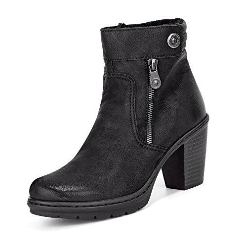 Rieker Y1553-01 Damen Stiefelette aus Lederimitat Reißverschluss 65-mm-Absatz, Groesse 39, schwarz