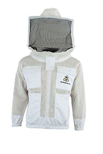 Ventilated Bee Belüftete Bienenenzuchtjacke, 3-lagig, Sicherheitskleidung für Bienenzucht, rund, mit Schleier, Schutzkleidung für Imkerzucht XL weiß (Runde 3 Kostüme)