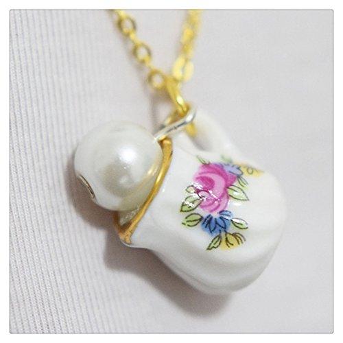 Floral tazza con collana di perle, colore: rosa fiore tazza tazza-Collana-Collana perla in miniatura tazza