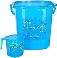 Nayasa 2 Piece Plastic Bathroom Bucket and Mug Set, Blue