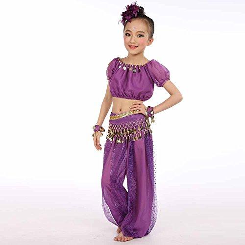 (Bauchtanz Fasching Mädchen Kostüm, YanHoo Kinder Mädchen Outfit Kostüm Indien Dance Kleidung Top + Rock Tüll Kleid Bauchtänzerin Pailletten Karneval, kein Schleier dabei, Keine Armmanschetten)