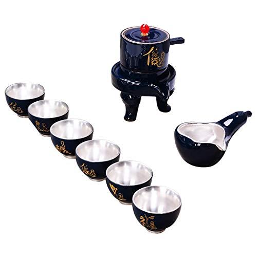 NZ-teapot Tee-Sets Kung Fu Tee-Set halbautomatische Haushalts einfache 999 Sterling Silber Set faul Tee Kaffee-Server (Farbe: blau) Sterling Server