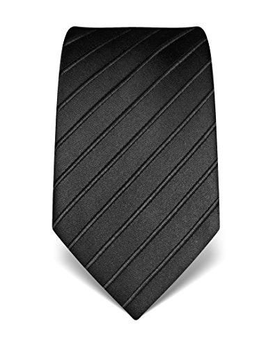 Vincenzo Boretti Herren Krawatte reine Seide Ton in Ton gestreift edel Männer-Design gebunden zum Hemd mit Anzug für Business Hochzeit 8 cm schmal / breit anthrazit (Reine Krawatte Seide Schwarz)