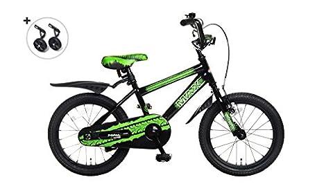 Vélo Enfant Garçon Popal Max 16 Pouces Frein Arriére à Rétropédalage Stabilisateurs Amovibles Vert Noir 95% Assemblé