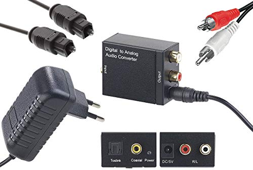 auvisio Digital Analog Wandler: Audio-Konverter Digital (Toslink/Koaxial) zu Analog (Cinch) mit Kabel (Audiowandler)