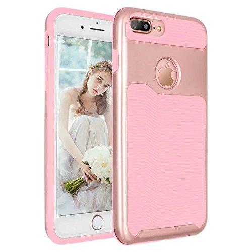 iPhone 7 plus hülle, Lantier 2 in 1 [weicher harter Tough Case][Anti Skid][Thin Slim Fit][Stoßdämpfung] Wellenmuster Rüstung Schutzhülle für Apple iPhone 7 Plus (5,5 Zoll) Silber+Pink Rose Golden