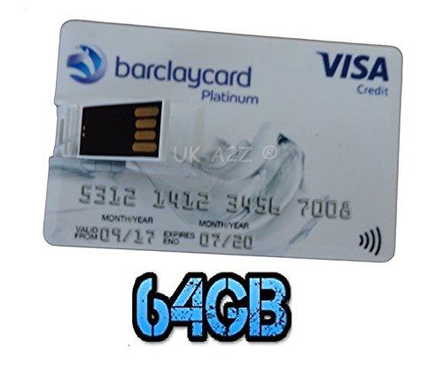 Uk a2z ® novità barclaycard 64gb carta di credito usb flash drive/memory stick