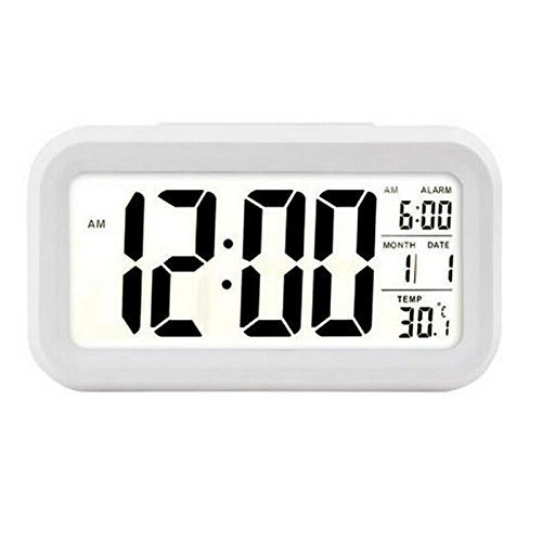 BonZeal Led Sensor Snooze Temperature Large Screen Plastic Desk Clock - (16 x 11 x 16cm, White, Date Month Display Digital Alarm Clock)