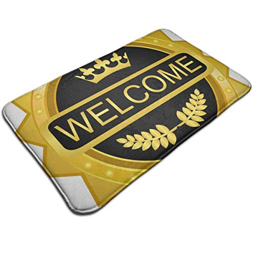 DEFFWB Welcome Gold Badge Icon Entrance Door Mat Welcome Indoor Bathroom Home Decorative Floor Mat/Cover Floor Rug Indoor/Outdoor Area Rugs - Kati Camo