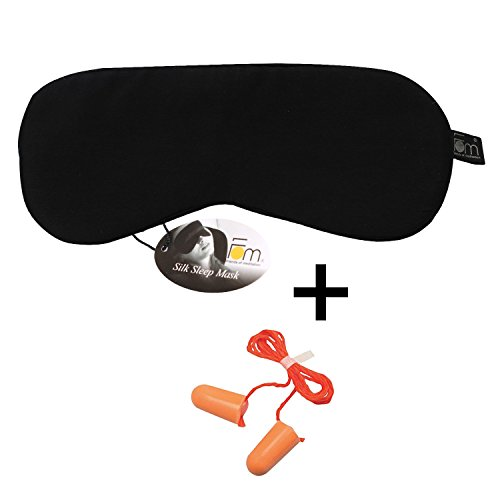 Friends of Meditation 100% Mulberry Silk, Super Smooth Sleep Mask and Blind Fold (Black) with Free Ear Plug