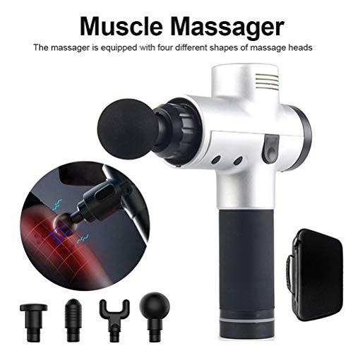 Massage Pistole Elektronische Muskel Entspannen Gerät 3 Dateien Körper Massager Therapie Körper Massage Gun Mit 4 verschiedene Massageköpfe (Silber)