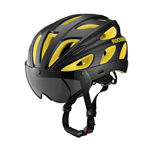 RockBros Fahrrad Helm Radhelm Integriert mit 2 Abnehmbaren Magnet Brillen Visier Größe Verstellbar 57-62CM Ultralleicht 281g(Schwarz Gelb)