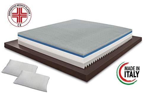 Materassimemory.eu - materasso piazza e mezza top air 120x190 alto 25 cm detraibile con 7 zone differenziate rivestimento aloe vera cuscino in omaggio traspirante anti acaro made in italy