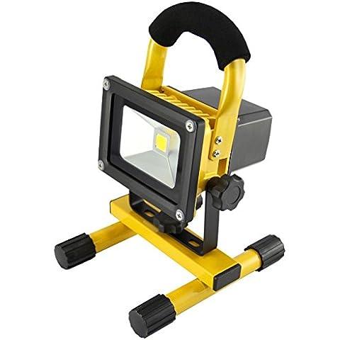 MCTECH Foco LED Recargable 10W Blanco Cálido Amarillo Faros de trabajo Iluminacion Exterior del Jardín al Aire Libre, Patio, Terraza Portátil Foco