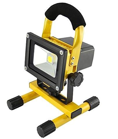 MCTECH® 10W Warmweiß Gelb Handlampe LED AKKU Flutlicht Arbeitsscheinwerfer Beleuchtung