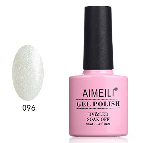 AIMEILI UV LED Gellack ablösbarer Gel Nagellack Weiß Glitzer Gel Nail Polish - Dancing Little Snow (096) 10ml
