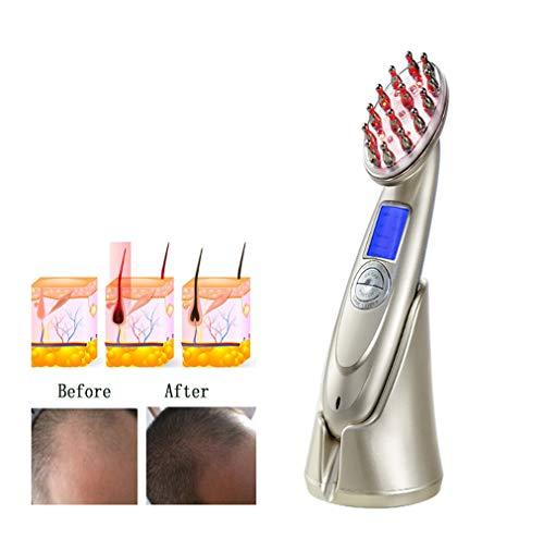 Haarwachstum Kamm Massager, Professionelle Photon Lichttherapie Kopfhautmassage Haarbürste, Anti Haarausfall Behandlung Nachwachsen Werkzeuge Mit Brille Geeignet für Zuhause Schönheitssalon,Gold