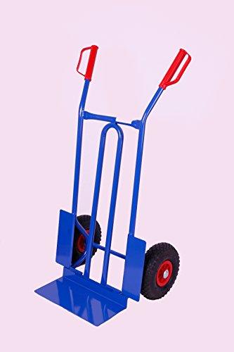 Sackkarre 250 kg HxBxT: 108x58x48 cm, blau (klappbar) (Vollgummi) (Transportkarre Stapelkarre Handkarre) (Sackkarre Vollgummibereifung)
